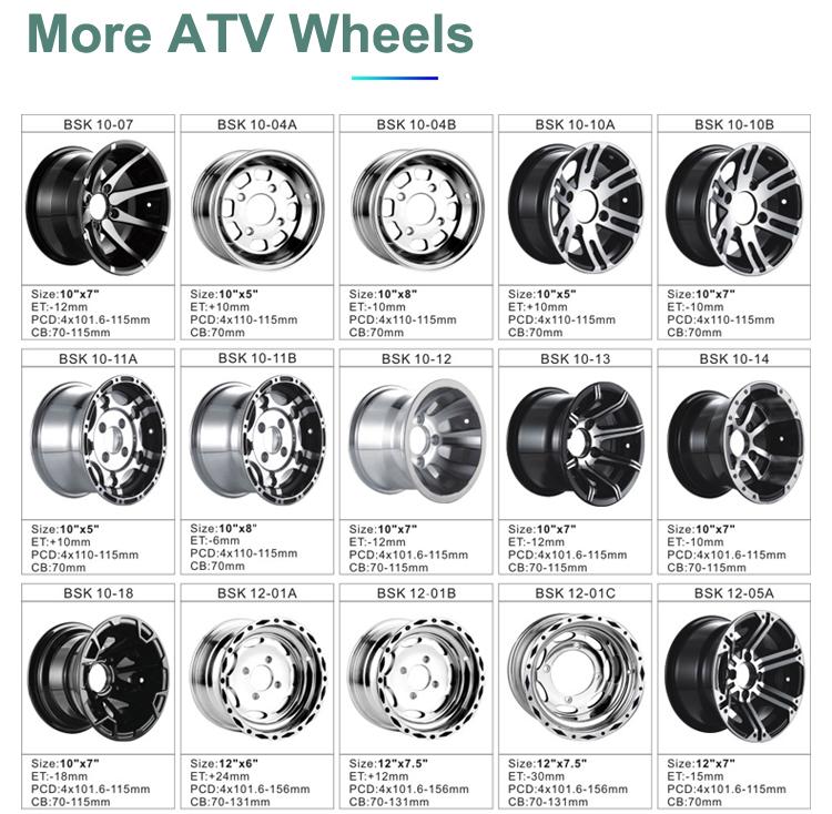10x8 بوصة ATV عجلة PCD4x110-115mm ET-6 مللي متر CB 70 مللي متر ATV الحافات 10 بوصة