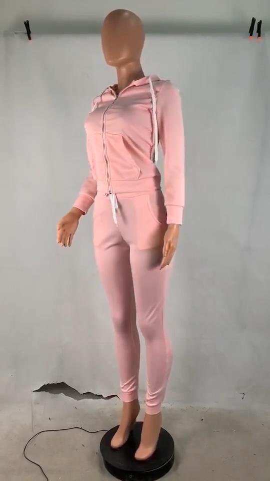 Setelan Olahraga Wanita, Celana Hoodie Lengan Panjang Trendi Musim Gugur Dua Potong, Pakaian Olahraga Warna Polos