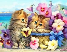 AZQSD Arcylic картина маслом цветок кошки фотографии по номерам на холсте фотографии животных на стену искусство для гостиной украшение дома(Китай)