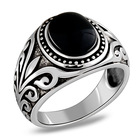 925 pure silver ring Black Agate red garnet ancient rattan pattern gemstone ring for men