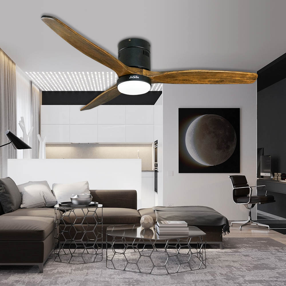 1stshine cheap price brushless dc motor 3 wood blades lower floor flush ceiling fan with light remote control