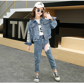 wholesale jean child girl clothing sets new design Sequins embroidery Denim kid girls clothes set