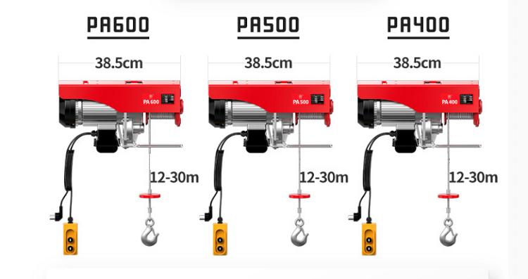 Fabrika doğrudan kargo kaldırma satışı 220V elektrikli vinç PA400 PA500 PA800 PA1000 PA1200