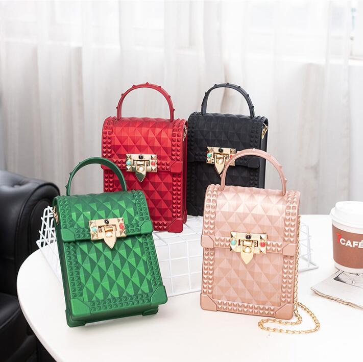 fashion mini ladies hand bags bandolera mujer cute girls sling shoulder crossbody messenger bag jelly bag chain handbag women, Multi