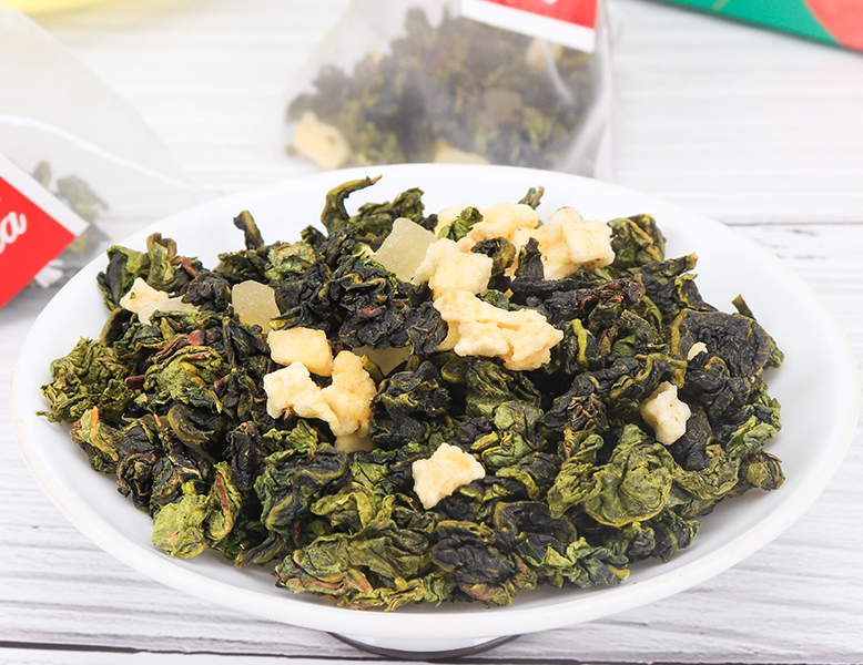 3g Private Label Chinese Dried Peach Oolong Apple Mixed Fruit Tea in Triangle Bags - 4uTea | 4uTea.com