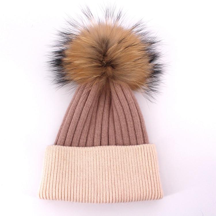 Wholesale Fur hat ball pom poms beanie knit baby winter hat