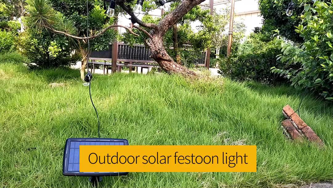 2020 Hotsale Outdoor 10m 10 Fixed Socket E27 S14 Plastic Led bulbs Light Chai Outdoor Solar Garden String Lights IP65 Waterproof