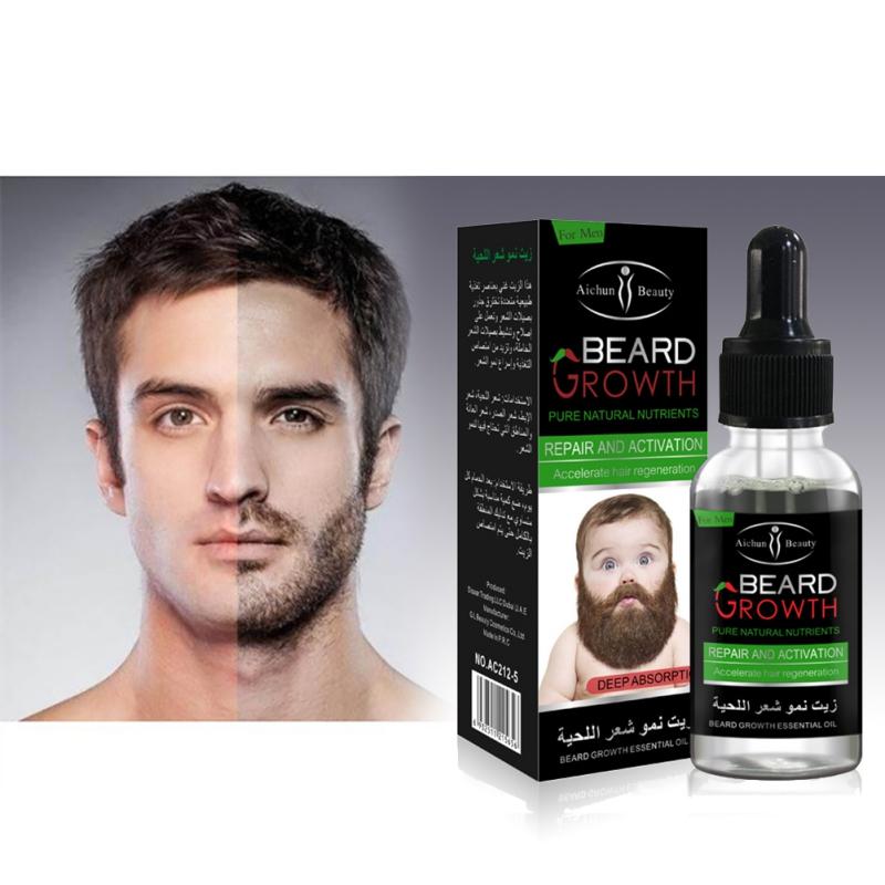 30 ミリリットル天然有機ひげの成長成長のための男性のひげ毛成長回避ひげ脱毛