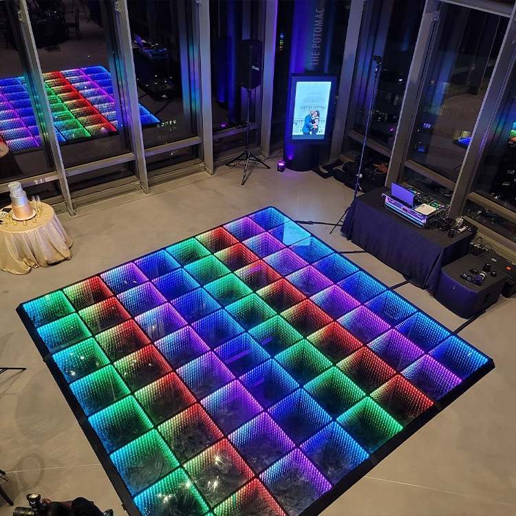 guangzhou illuminated 3d glass infinity pressure sensitive electric led dj strip light stage dance floor