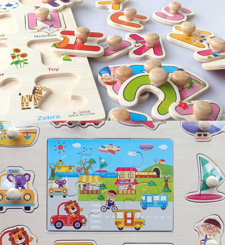 Wooden Learning ABC Digital Cognitive Matching Puzzle Baby Hand Grasp Tangram Jigsaw Board Kids Montessori Educational Toys