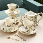 Hot Sell European flower tea coffee cup saucer set butterfly garden vintage exquisite ceramic pot