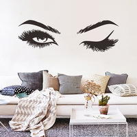 Sensual beauty eyes wall decal pretty eyelashes vinyl stickers foreign trade waterpoof removable custom wall sticker