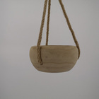 Wood Pot Wooden Garden Pot Hot Sell Hanging Solid Wood Plant Pot Container With Hemp Rope For Home Garden Patio Use