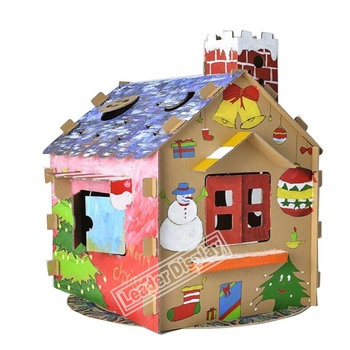 unique design coloring castle train paper cardboard playhouse for kids