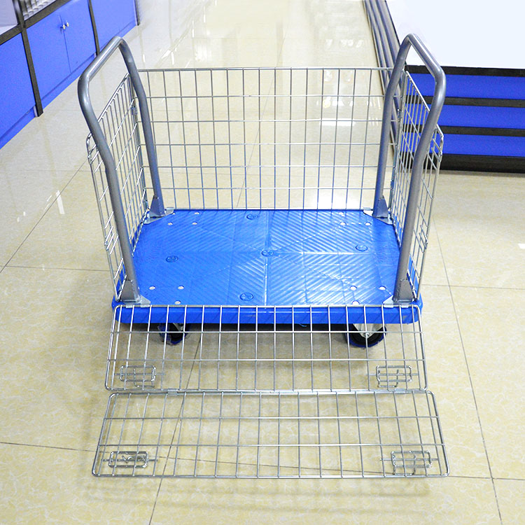 300kg mesh tool trolley double handle warehouse trolley