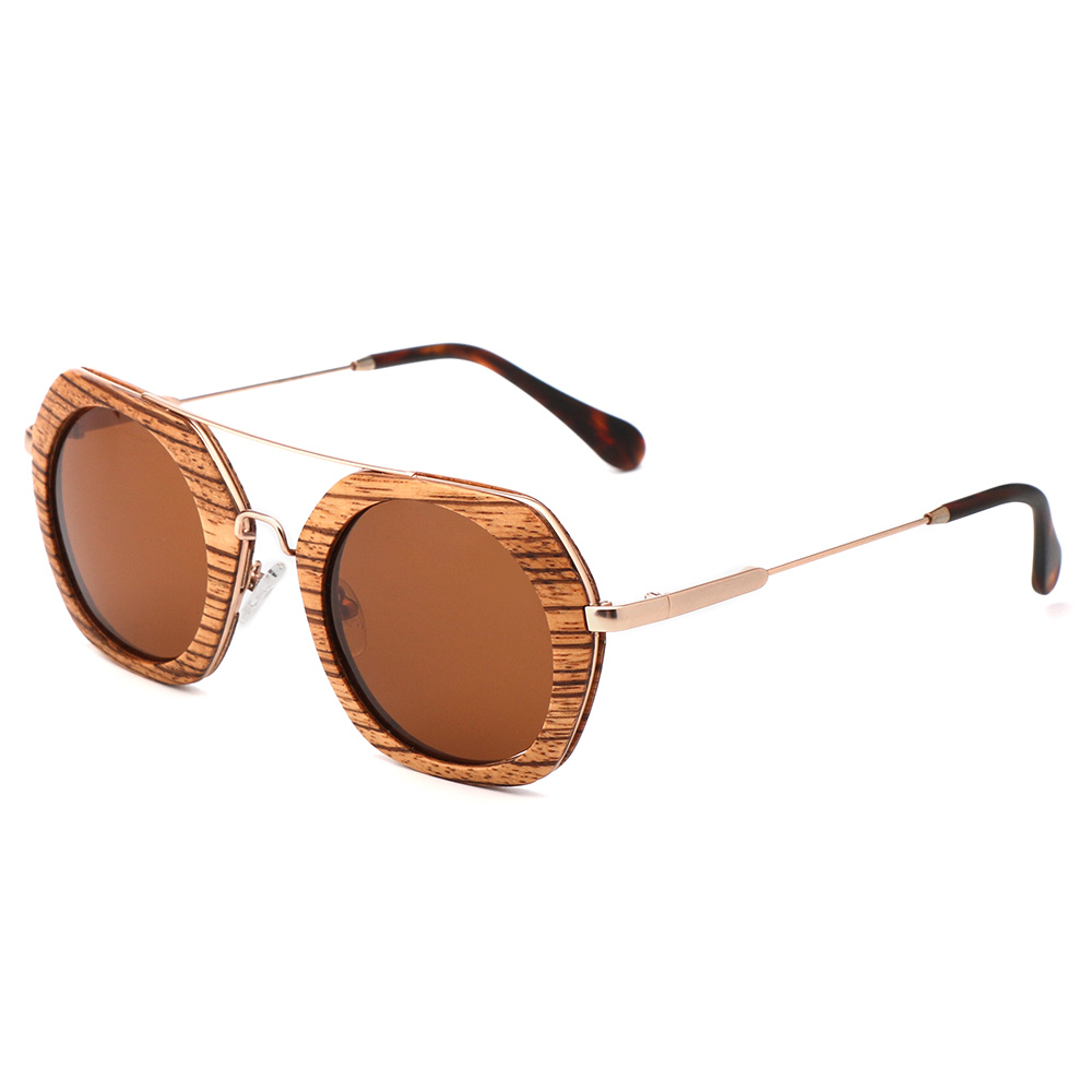 2020 Hot Selling Fashion Custom Logo Metal Temple Zebra Wooden Round Frame Sunglasses