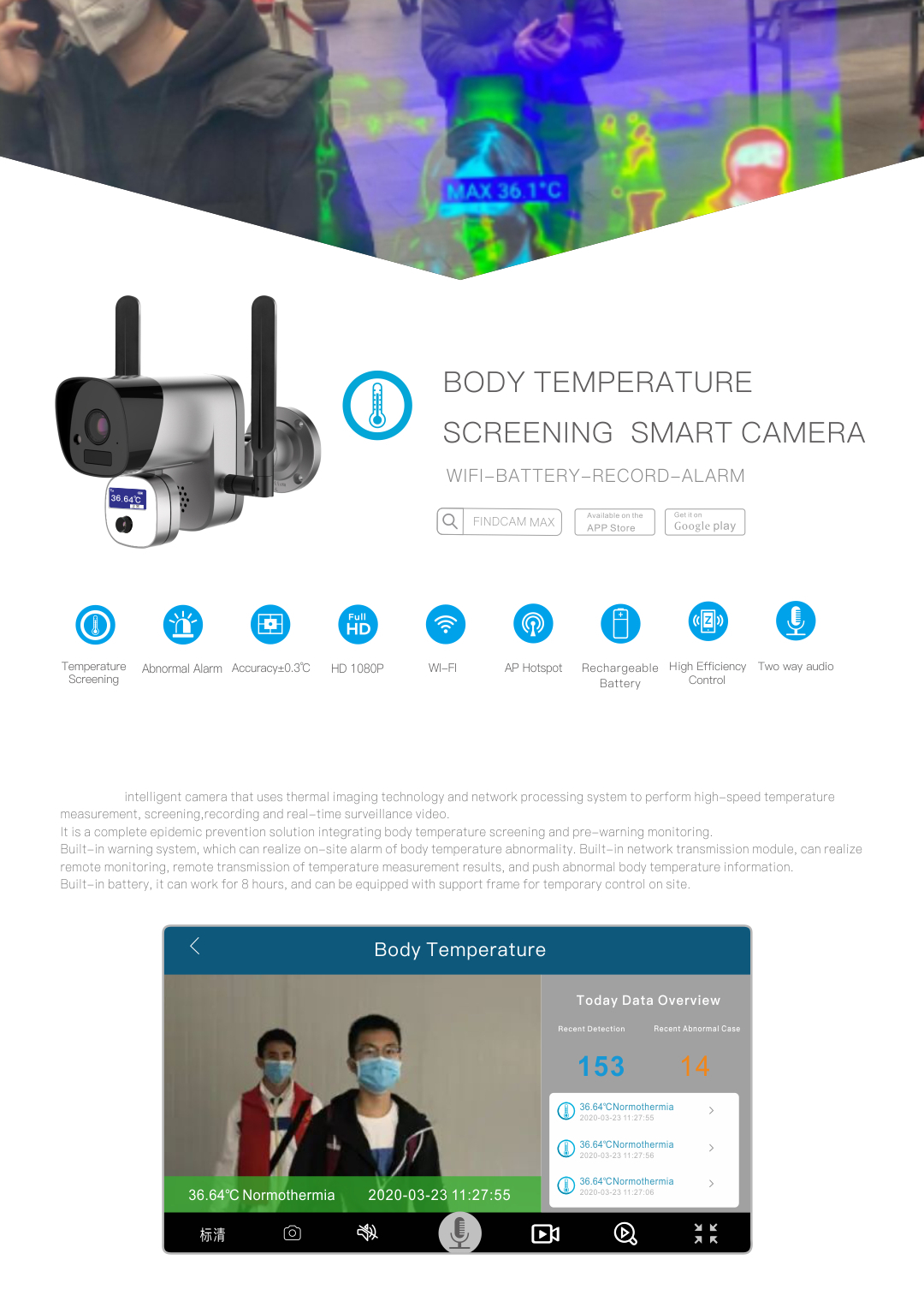 2MP 1080P HD AP WiFi Wireless Mobile APP View Human Body Infrared Thermal Temperature IP Camera Price