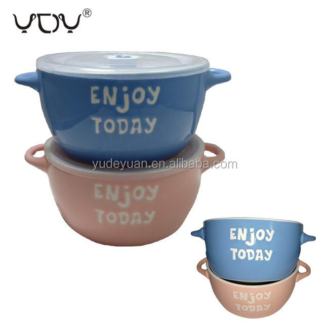 Stok seramik çorba kişiselleştirilmiş köpek şehriye öğle yemeği kase renkli mavi porselen servis kapaklı kase