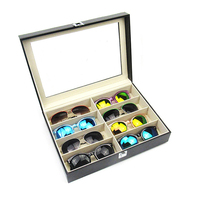 Hot selling 8 solt PU Leather Black Large capacity Sunglasses case
