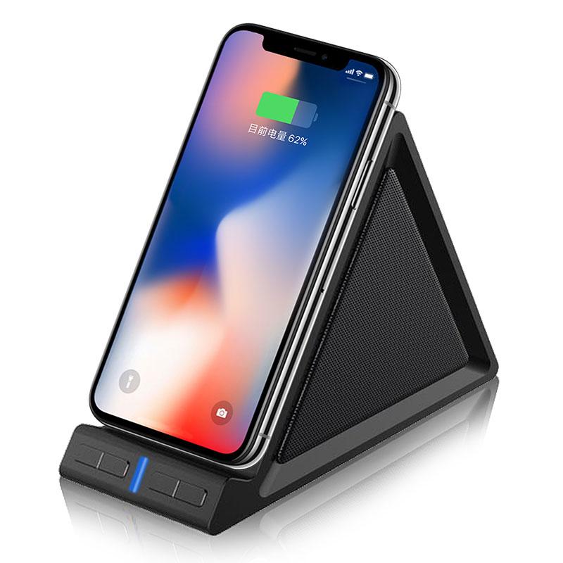 10W fast charger desktop stand phone holder wireless charger with BT speaker Stand wireless charger speaker - idealSpeaker.net