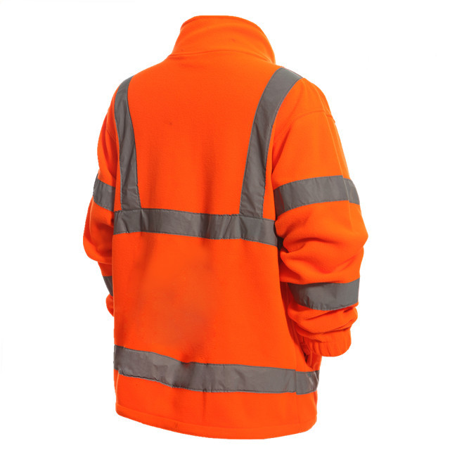 Winter safety plus reflective tape men's orange polar fleece jacket