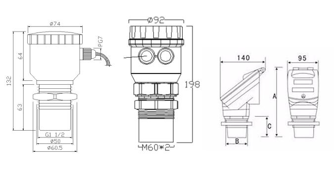 Venta caliente 4-20ma de agua del tanque de combustible Diesel medidor de nivel de Sensor