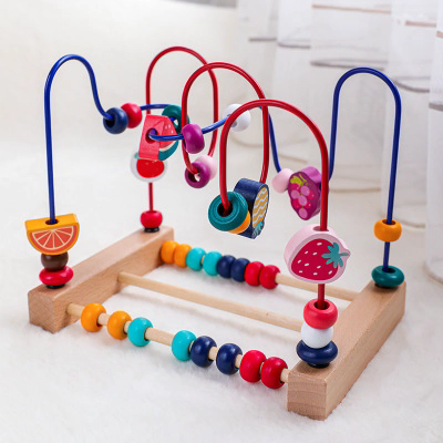 NEW Wholesale baby montessori wooden animal beaded Game baby toys educational kids