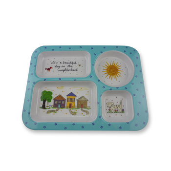 Food safety printed melamine kids divided 4 compartment plate