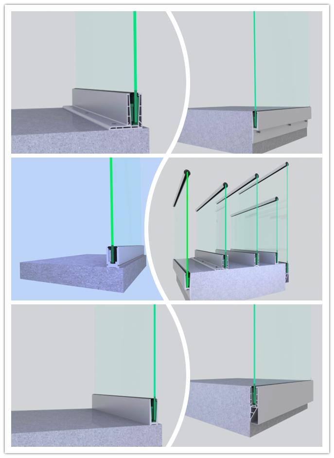 חדש חיצוני אלומיניום מרפסת ללא מסגרת זיגוג מעקה מעקה זכוכית ללא מסגרת מרפסת מעקה
