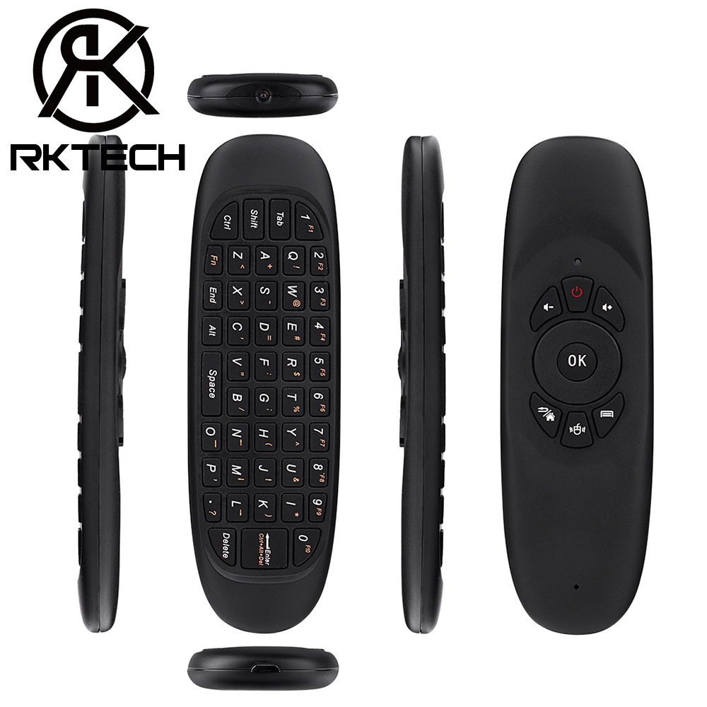 RK Mini Tastiera C120 Air Mouse Onida TV A Distanza di Controllo 2.4G Wireless 6 Giroscopio con Batteria Al Litio Ricaricabile
