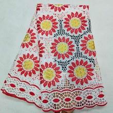 Анна швейцарская вуаль кружева АФРИКАНСКАЯ кружевная ткань вышивка с камнями полые подсолнух Дизайн 5 ярдов 100% хлопок ткани для шитья(Китай)