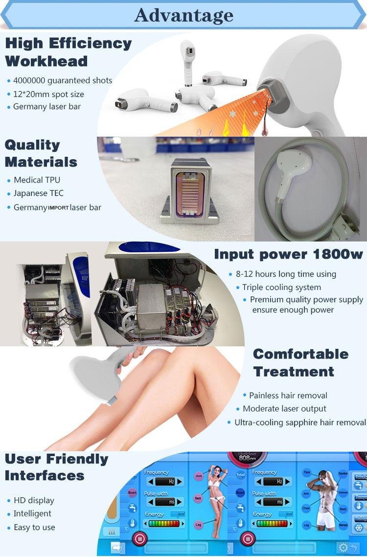 Germany laser bars laser diodo 808 portable/808 diode laser hair removal machine