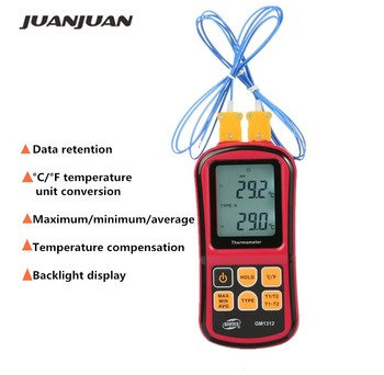 GM1312 Digital 50~300 Handheld Thermocouple Thermometer with Backlight and Dual-channel Temperature Meter Tester