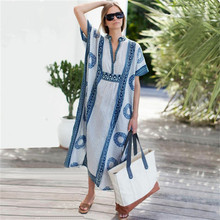 C3518 Vrouwen Losse Lange Zomer Sneldrogende Print Cover Up Beach Dubai <span class=keywords><strong>Kaftan</strong></span>