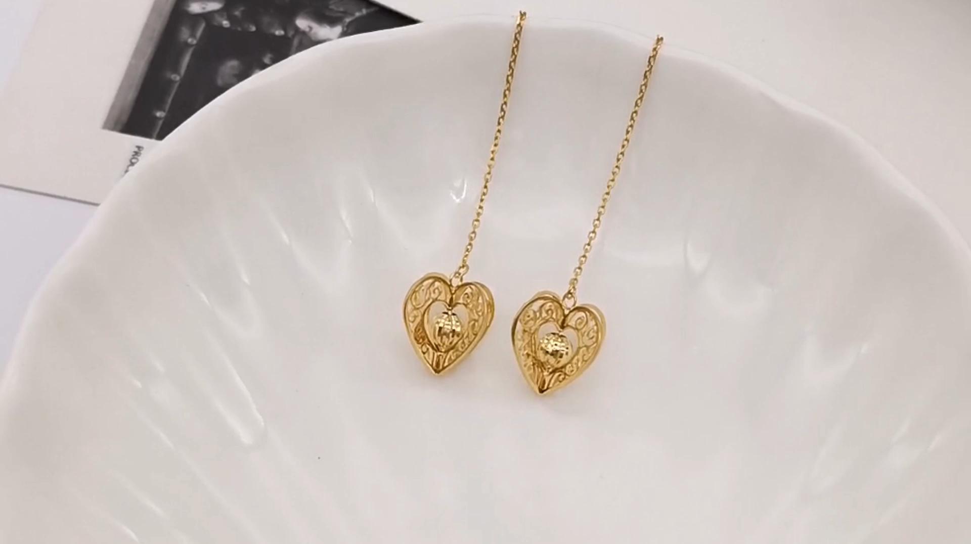 1000S Schmuck 18 Karat Echt gold Draht Ohrringe Mode Ohrringe Trendy Style Für Geschenke Verstellbare Klassische Herz Ohrringe