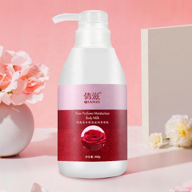 गर्म बेच दूध सफेद शामिल गुलाब निकालने बोतलबंद शरीर दूध गुलाब इत्र मॉइस्चराइजिंग शरीर दूध 300g