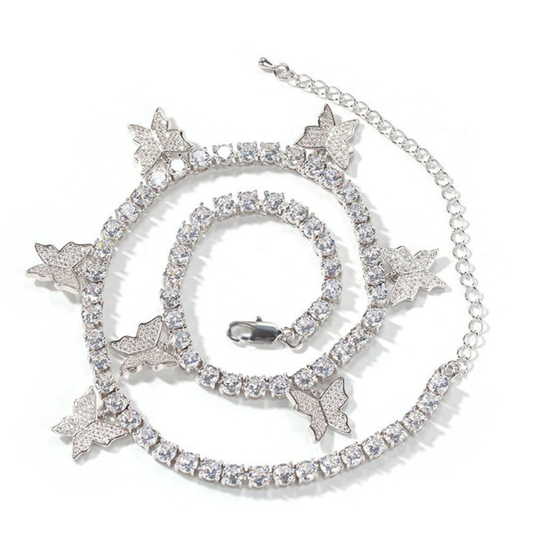HOVANCI European New Design Women Hips Hops Bling Rhinestone Crystal Butterfly Tennis Chain Necklace