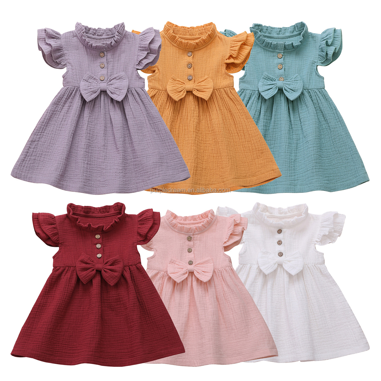 Special Stand Collar Toddler Clothes <strong>Cotton</strong> Kids Smock Dress Solid Color <strong>Baby</strong> <strong>Frocks</strong>