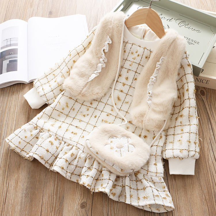 Wholesale girl clothes dress Fleece good material winter  girl dresses