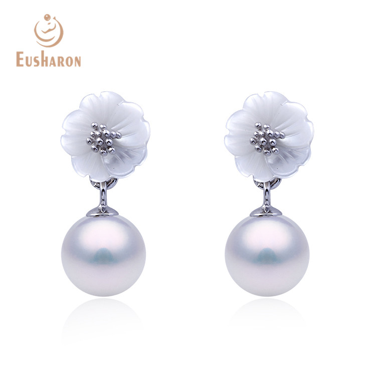 Korean Styles Women Spring Shell Flower 925 <strong>Sterling</strong> <strong>Silver</strong> Pearl <strong>Drop</strong> <strong>Earrings</strong> For Girl