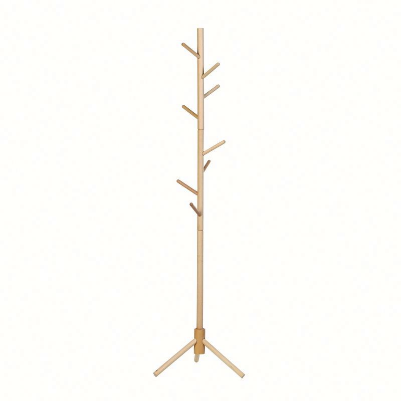 import china goods living room furniture pine wood lacquered wooden coat hanger stand brown wooden cloth tree