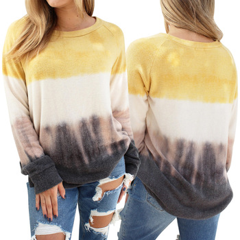 2020 Women Blouses And Tops Lady Knitting Long Sleeve Shirts Ladies O Collar Yellow Tops Women Blouses And Shirts