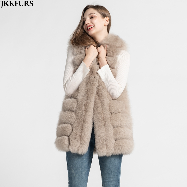 Factory Price High Quality Fox Fur Vest Winter Luxury Fur Gilet Women Waistcoat