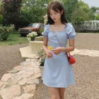 Light Blue Puff Sleeve Mini Square Neck White Dress Women Dresses Summer A Line Casual Lace Up Dress