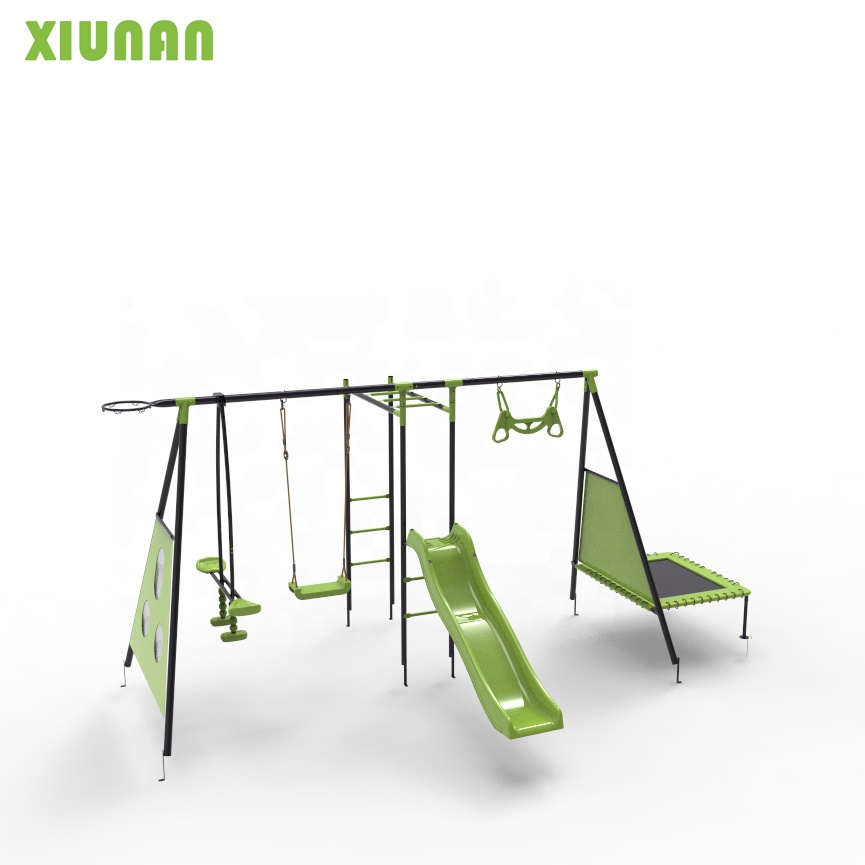 Eight Functions Play set Outdoor Metal children outdoor Playground Swing  With Plastic Slide