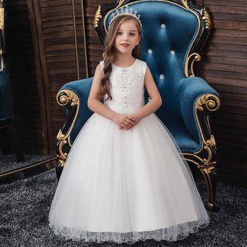 3 -11 Y Kids Girls Elegant Wedding Flower Girl Dress Princess Party Pageant Long Sleeveless Formal Dresses Girl Y11025