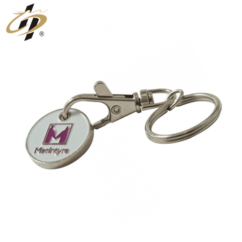 New products round metal custom enamel trolly token with keyring