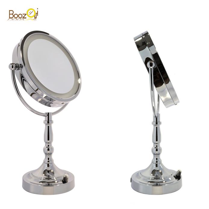 8 Zoll eitelkeit mädchen hollywood Desktop Stil Dual Vergrößerung 360 Grad Swivel silber Runde Kosmetikspiegel