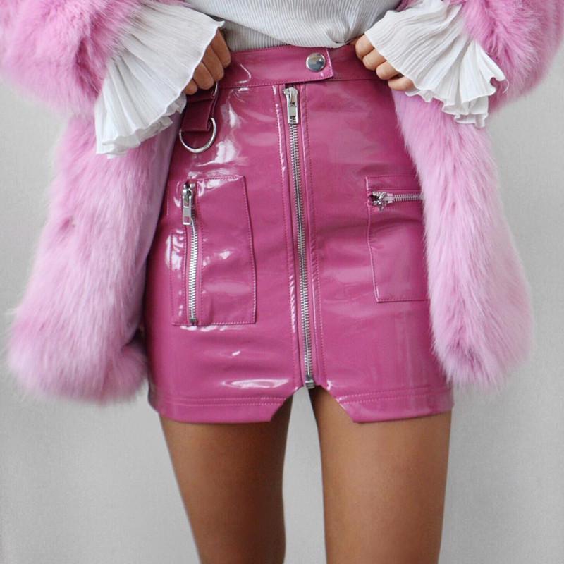 women Elegant zipper mini skirt High waist PU leather skirts Autumn winter streetwear short Skinny mini Skirts