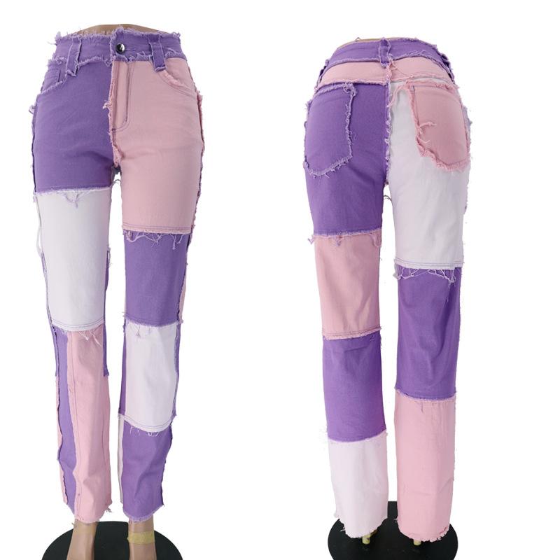 Jean XS pour femmes, taille haute, jambes larges, patchwork, pantalon, vente en gros, nouvelle mode, collection 2020, C8282